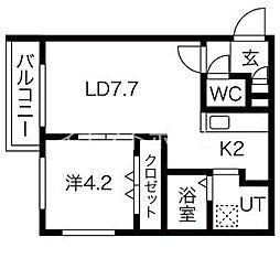 Steady State Asabu(ステディ ステート麻生) 3階1LDKの間取り