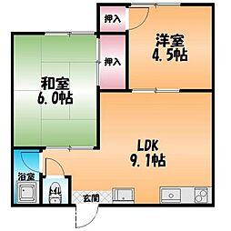 武市荘B[1階]の間取り