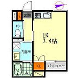メゾンソレイユ名駅西 2階1Kの間取り
