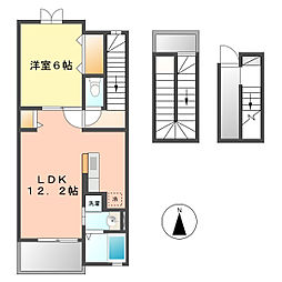 愛知県北名古屋市片場天王森の賃貸アパートの間取り