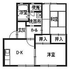 兵庫県加古川市東神吉町西井ノ口の賃貸アパートの間取り