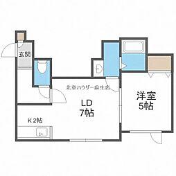 JR学園都市線 新琴似駅 3.1kmの賃貸アパート 3階1LDKの間取り