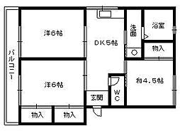 富塚コーポ[301号室]の間取り