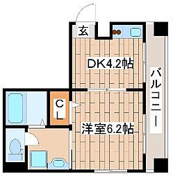 神戸市海岸線 ハーバーランド駅 徒歩9分の賃貸マンション 3階1DKの間取り
