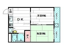 エリータ桃山台2[3階]の間取り