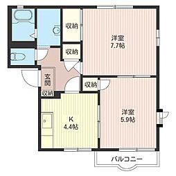サンハイツ・クリハラB[2階]の間取り