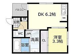 Osaka Metro谷町線 千林大宮駅 徒歩8分の賃貸アパート 3階1DKの間取り