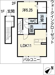 ローズコート亀が洞[2階]の間取り
