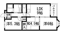 ボナール中西[2階]の間取り