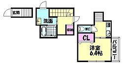 南海線 高石駅 徒歩3分の賃貸アパート 2階ワンルームの間取り