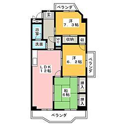 グランデール鶴田[4階]の間取り
