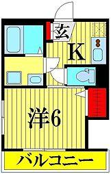 埼玉県越谷市恩間の賃貸アパートの間取り