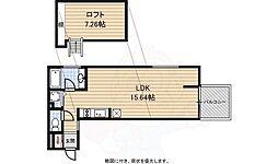 阪神なんば線 桜川駅 徒歩2分の賃貸マンション 7階ワンルームの間取り