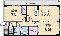 ラ・プラージュ 2階2LDKの間取り