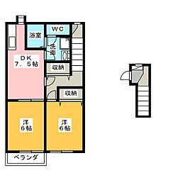プチメゾン松和花壇[2階]の間取り