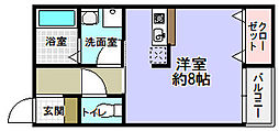 大阪府枚方市新之栄町の賃貸アパートの間取り