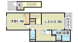 兵庫県姫路市飾磨区英賀宮町2丁目の賃貸アパートの間取り