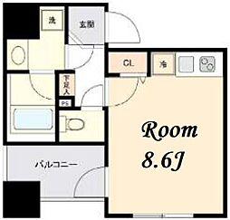 東京メトロ日比谷線 茅場町駅 徒歩5分の賃貸マンション 9階ワンルームの間取り