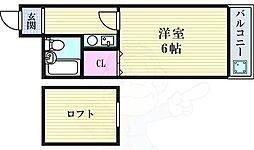 エスポアール野田 7階1Kの間取り