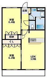 愛知県豊田市清水町1丁目の賃貸マンションの間取り
