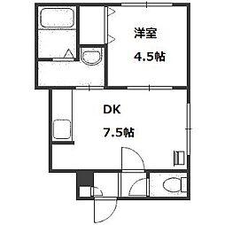北海道札幌市中央区南十条西8丁目の賃貸アパートの間取り