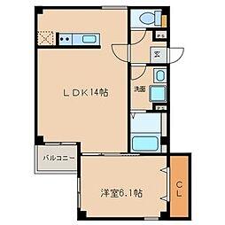 愛知県名古屋市中区正木2丁目の賃貸アパートの間取り