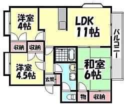 大阪府和泉市上代町の賃貸アパートの間取り