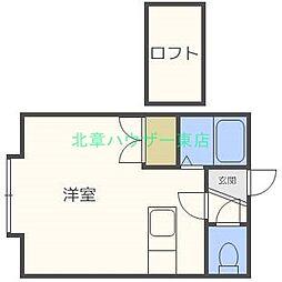 北海道札幌市東区北二十二条東16丁目の賃貸アパートの間取り