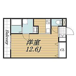 千葉都市モノレール 天台駅 徒歩6分の賃貸アパート 3階ワンルームの間取り