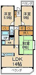 大阪府枚方市茄子作2丁目の賃貸マンションの間取り