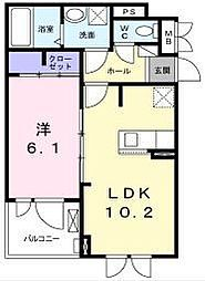 江ノ島電鉄 藤沢駅 徒歩22分の賃貸アパート 1階1LDKの間取り