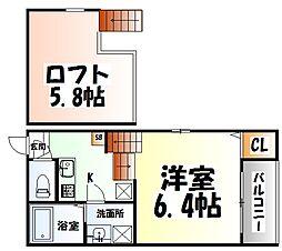 ドルチェ栄II 2階1Kの間取り