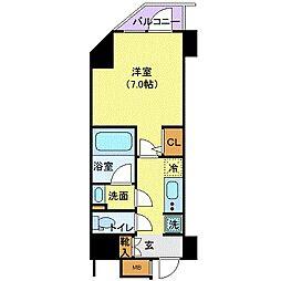 JR山手線 浜松町駅 徒歩3分の賃貸マンション 9階1Kの間取り