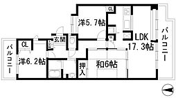 ラビスタ宝塚サウステラス2番館[8階]の間取り