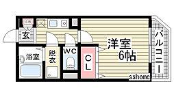 兵庫県神戸市灘区天城通1丁目の賃貸マンションの間取り