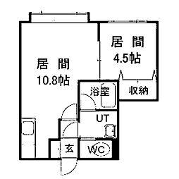 北海道札幌市清田区清田六条3丁目の賃貸アパートの間取り