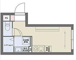 COCOFLAT SASAZUKAIII 4階ワンルームの間取り