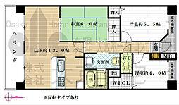 大阪府八尾市東太子2丁目の賃貸マンションの間取り