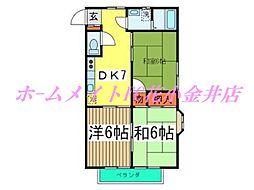東京都西東京市柳沢5丁目の賃貸アパートの間取り