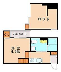 JR鹿児島本線 香椎駅 徒歩10分の賃貸アパート 2階1Kの間取り