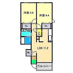 グリーンラティエ YOSHIE[1階]の間取り