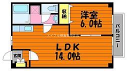 岡山県総社市総社丁目なしの賃貸アパートの間取り