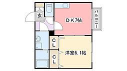 兵庫県姫路市青山1の賃貸アパートの間取り