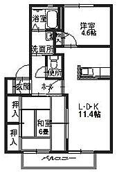 シャーメゾン米田 B[202号室]の間取り