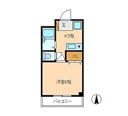 コートピレリ北松戸[3階]の間取り