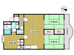 ベリーシャトウオオサン[2階]の間取り