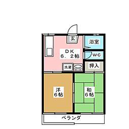 高木ハイツ[2階]の間取り