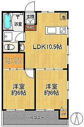 関原ロイヤルハイツI[3階]の間取り