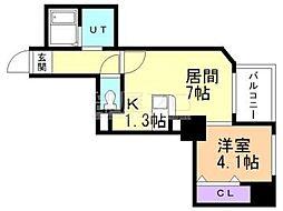 カルフール大通東[4階]の間取り