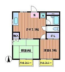 ライトハウスB[2階]の間取り